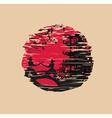 Japanese Samurai fighter - grunge card vector image vector image