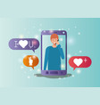 man in smartphone with social media bubbles vector image vector image