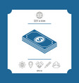 money banknotes stack with dollar isometric icon vector image