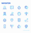 navigation and direction thin line icons set vector image