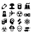Nuclear weapon nuclear factory war bombs icons vector image