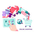 online shopping touchscreen concept vector image vector image