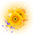 orange background with sunflowers and butterflies vector image vector image
