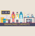 people in environmental protective suits at lab vector image vector image