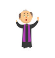 priest character blessing people with cross vector image vector image