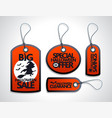 red halloween sale tags set vector image
