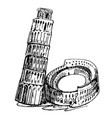rome coliseum and leaning tower vector image vector image