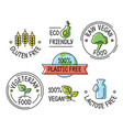 set line eco logo icons gluten plastic vector image vector image