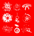 set of christmas and new year hand drawn vector image vector image