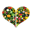 set of fruit and vegetable icons forming heart vector image vector image