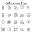 set online money related line icons contains vector image