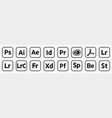 set popular adobe icons products vector image