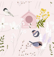 spring garden seamless pattern with hand drawn vector image vector image