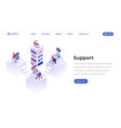 Support center isometric landing page template