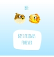 Two best friends fish with frame for text vector image