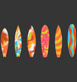 types of surfboards with a pattern water sports vector image