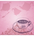 Vintage background with tea cup vector image vector image