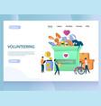 volunteering website landing page design vector image
