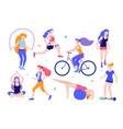 woman activities set of women doing sports yoga vector image