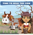 woman with cow character from wild west series vector image