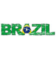 word brazil with brazilian flag under it vector image vector image
