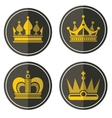 Yellow crown icons on color background vector image vector image