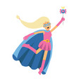 young blonde woman in classic dress of superhero vector image