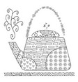 zentangle teapot for adult antistress coloring vector image