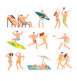young and happy family on sunny beach vector image