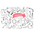 hand-drawn doodle arrows sketch set dirty vector image