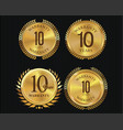 10 years warranty golden labels collection 2 vector image vector image