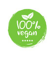 100 percent vegan logo icon vegetarian vector image
