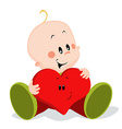 baby with heart pillow vector image vector image