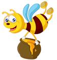 Bee cartoon holding honey bucket vector image vector image