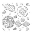 big set different black and white breakfast vector image vector image