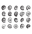 black hand painted e-mail symbols vector image