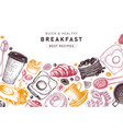breakfast table top view frame in color morning vector image vector image