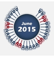calendar 2015 June template vector image vector image