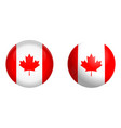 canada flag under 3d dome button and on glossy vector image
