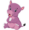 cartoon cute baby hippo vector image vector image