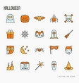cartoon halloween thin line icons set vector image vector image