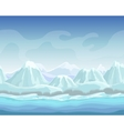 Cartoon winter landscape with snow mountains vector image