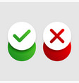 check mark and cross slider buttons vector image