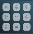 climate icons line style set with lightning fog vector image vector image