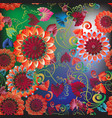 colorful floral greek style seamless pattern vector image vector image