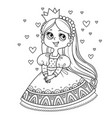 cute princess in ball dress surrounded hearts vector image vector image