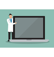 Doctor pointing to the screen of a laptop vector image vector image