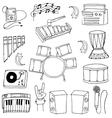 Doodle of music element on white backgrounds vector image