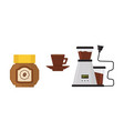 flat icon of coffee maker cup on saucer vector image
