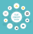 flat icons billfold teller machine ingot and vector image vector image